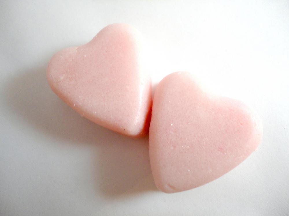 Sugar scrub hearts, mini Valentine heart cubes, all natural, set of 8 in heart box